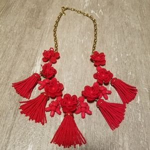 Red J. Crew statement necklace